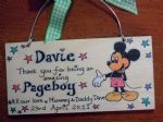 MICKEY MOUSE PAGEBOY RINGBEARER USHER BEST MAN WEDDING FAVOUR KEEPSAKE THANK YOU SIGN PERSONALISED Handmade Each One Unique OOAK